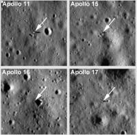 Vier gefotografeerde maanlanders
